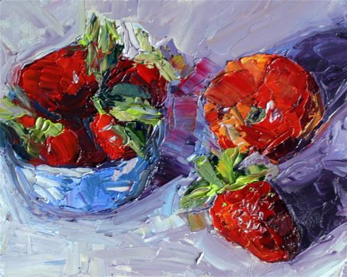 """Strawberries in a blue cup"" original fine art by Kristen Dukat"
