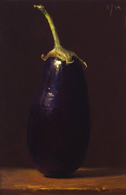 """Homegrown Eggplant No. 3"" original fine art by Abbey Ryan"