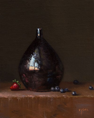 """Still Life with Drop Vase, Strawberry, and Blueberries"" original fine art by Abbey Ryan"