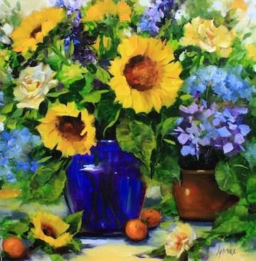 """A Day in Provence Sunflowers"" original fine art by Nancy Medina"