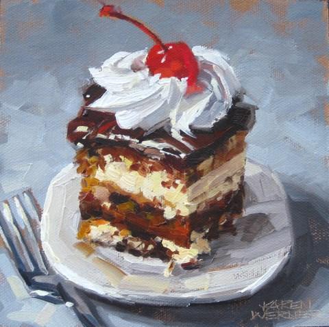 """""""Tuxedo Cake"""" original fine art by Karen Werner"""