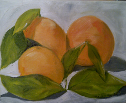 """""""oranges with leaves"""" original fine art by Jo Allebach"""
