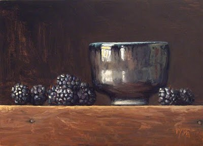 """Still Life with Blackberries and a Whiskey Cup"" original fine art by Abbey Ryan"