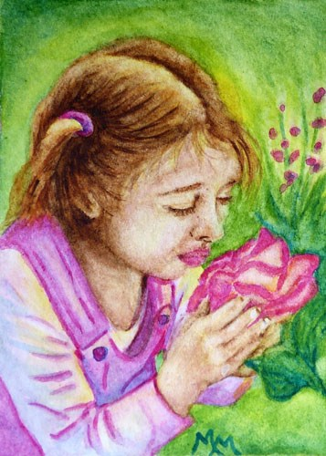 """Smelling the Roses"" original fine art by Monique Morin Matson"