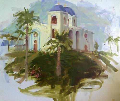 """""""San Diego mission"""" original fine art by Richard Schiele"""