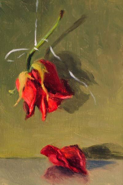 """Hanging Rose"" original fine art by Susan Matteson"