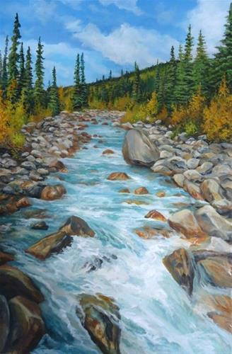"""Boulder Creek, South Canol Yukon"" original fine art by Jackie Irvine"