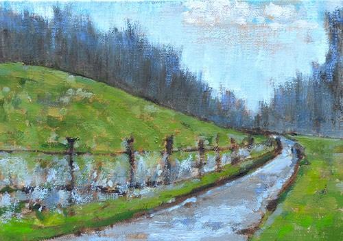 """Virginia Winter Farm"" original fine art by Kevin Inman"
