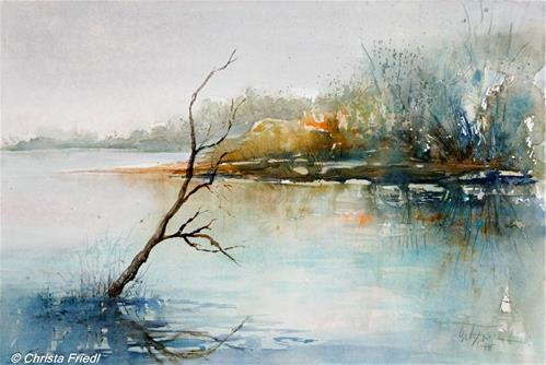 """Donauauen – Danube floodplains"" original fine art by Christa Friedl"