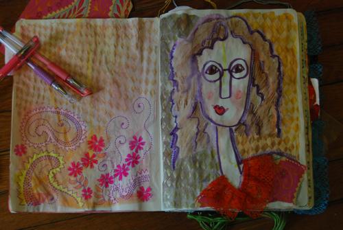 """Modigliani inspired self portrait"" original fine art by Kimberly Santini"