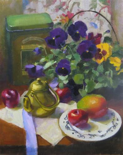 """Pansies and plums"" original fine art by Kathy Weber"