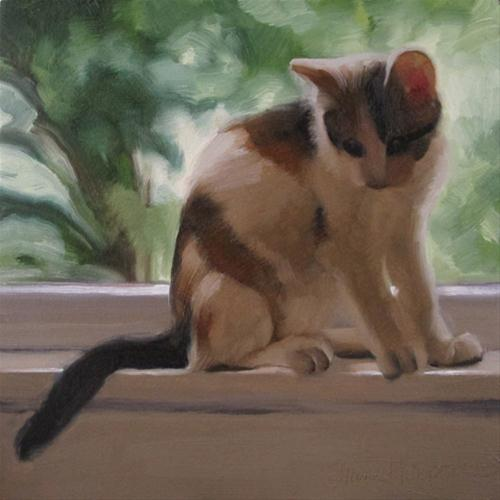 """""""On a Ledge young calico cat in window"""" original fine art by Diane Hoeptner"""