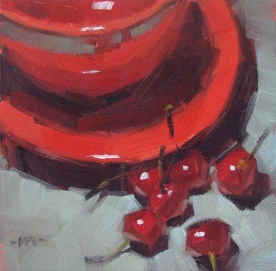 """""""Cherries Besides"""" original fine art by Carol Marine"""