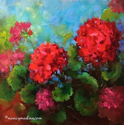 """Red Geraniums in Flight and Meet the Artist in Spring, Texas - Flower Paintings by Nancy Medina"" original fine art by Nancy Medina"