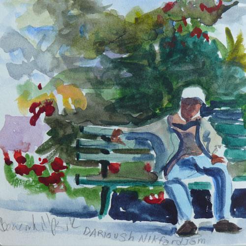 """Park Scene, watercolor, 4x4"" original fine art by Darlene Young"