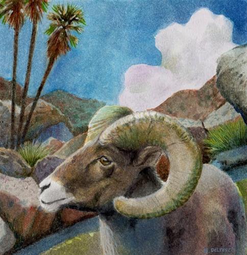 """""""Watercolor: Ram"""" original fine art by Belinda Del Pesco"""