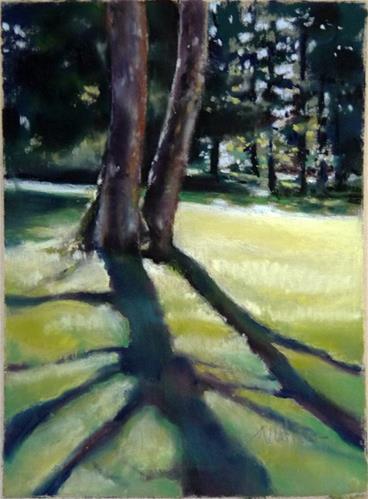 """""""Two Trees"""" original fine art by Barbara Benedetti Newton"""
