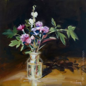"""""""Oil painting: pink bouquet"""" original fine art by Deb Anderson"""