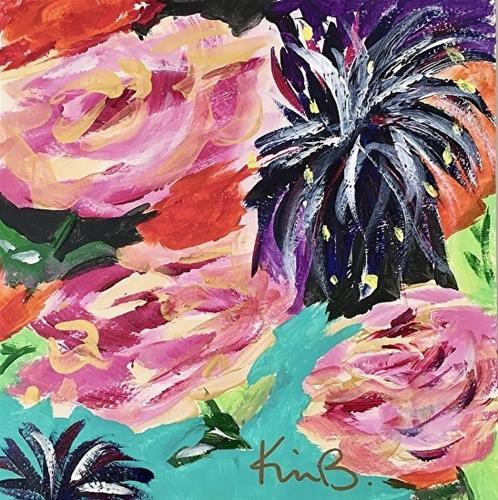 """""""Gold Roses - Pink Roses3F"""" original fine art by Kimberly Balentine"""
