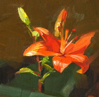 """Lily Flames --- Sold"" original fine art by Qiang Huang"
