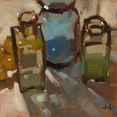 """""""Backlit Bottles"""" original fine art by Carol Marine"""