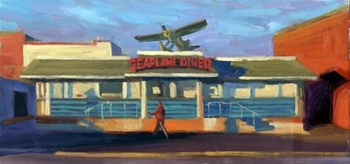 """Sunrise at the Seaplane"" original fine art by Kathy Weber"