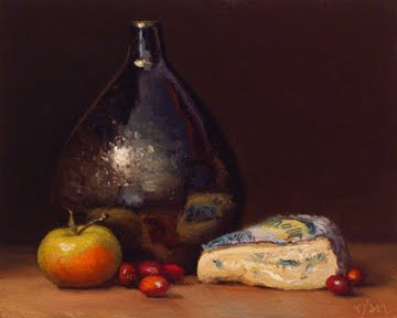 """Cranberries, Lady Apple, and Montbriac with Drop Vase"" original fine art by Abbey Ryan"