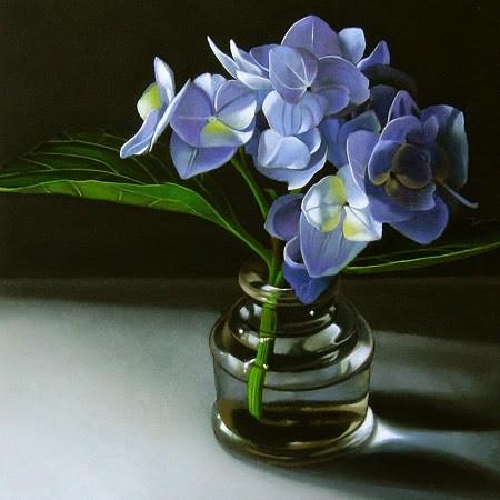 """Blue Hydrangea 6x6"" original fine art by M Collier"