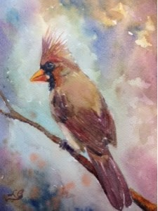 """Day 8 - Ms. Redbird"" original fine art by Lyn Gill"