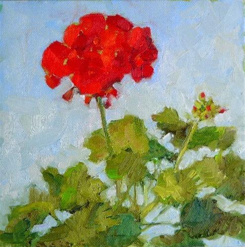 """Geranium in March,still life,oil on canvas,8x8,price$300"" original fine art by Joy Olney"
