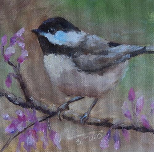 """""""Chickadee"""" original fine art by Lina Ferrara"""