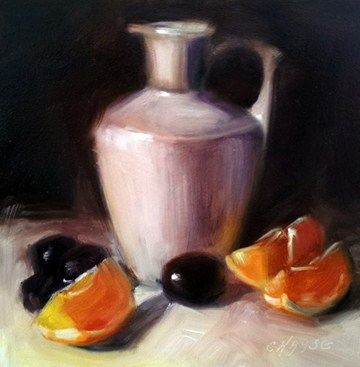 """""""Orange, Grapes and Pitcher"""" original fine art by Cindy Haase"""