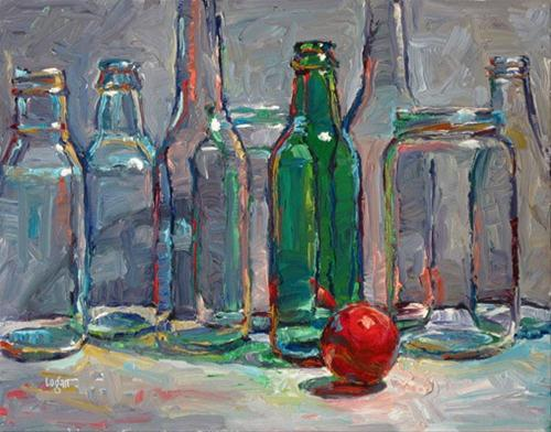 """Green Bottle and Red Ball"" original fine art by Raymond Logan"