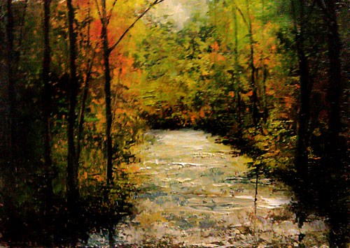 """""""A Stream in the Woods"""" original fine art by Bob Kimball"""