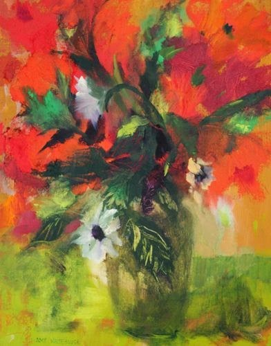 """""""Red & Green, Contemporary Floral Paintings by Arizona Artist Amy Whitehouse"""" original fine art by Amy Whitehouse"""