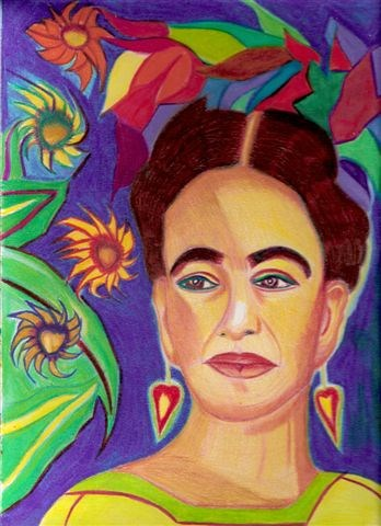 """Frida and the Floating Sunflowers"" original fine art by Terri Brown-Davidson"