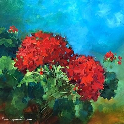 """Earth Child Geraniums - Flower Painting Classes and Videos by Nancy Medina Art"" original fine art by Nancy Medina"