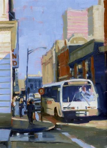 """Bus stop"" original fine art by Kathy Weber"