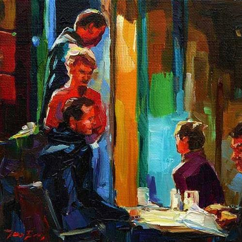 """Im Café"" original fine art by Jurij Frey"