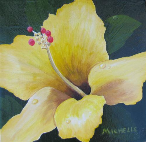 """""""Yellow Hibiscus With Dew Drops"""" original fine art by Michelle Wolfe"""
