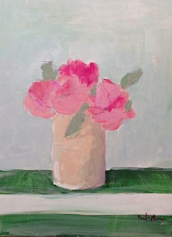 """Pink with Green Stripes"" original fine art by Pamela Munger"