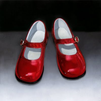 """""""Red Shoes 10x10"""" original fine art by M Collier"""