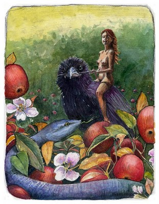"""Watercolor & Charcoal: The Serpent Beckons Eve"" original fine art by Belinda Del Pesco"
