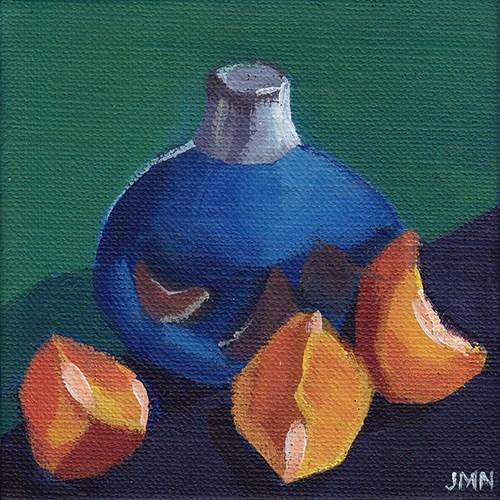 """""""Clementines: Blue Vase"""" original fine art by J M Needham"""
