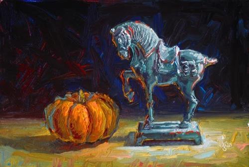 """Dwarf Pumpkin vs. Chinese Horse"" original fine art by Raymond Logan"