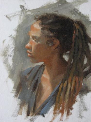 """Liz profile 9x12  oil"" original fine art by Claudia Hammer"