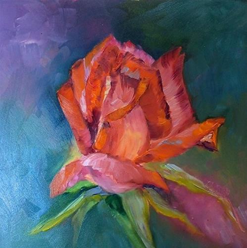 """""""Joy in the Garden! 8 x 8 OIL, Floral"""" original fine art by Donna Pierce-Clark"""