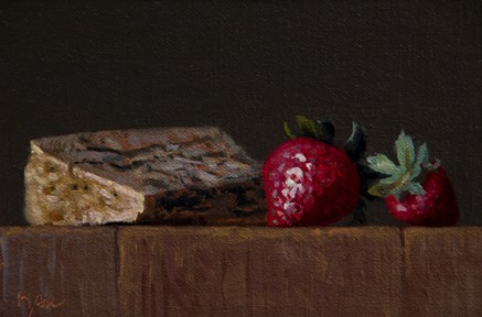 """""""Still life with Two Strawberries and Cayuga Blue"""" original fine art by Abbey Ryan"""