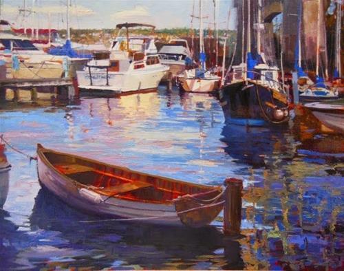 """Under the Fremont Bridge  Seattle city, marine oil painting by Robin Weiss"" original fine art by Robin Weiss"