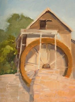 """Country Watermill"" original fine art by Laurel Daniel"